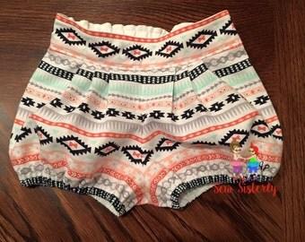 Pleated Aztec Shorts