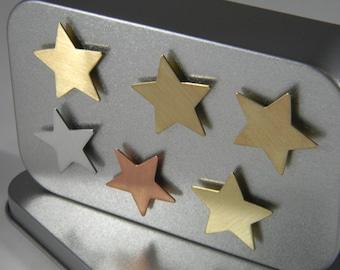 Metal Star Magnets - Refrigerator Magnet - Metal Magnet - Copper Brass Aluminum Star - Kitchen Magnets - Industrial Magnet Set - MM07