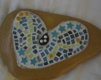 Gold Mosaic Garden Rock - Paperweight