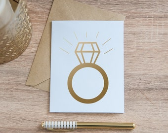 Diamond Engagement Ring Card, Gold Foil - Gold Engagement Ring Card - Gold Wedding Card - Diamond Card - Engagement Card - Blank Card
