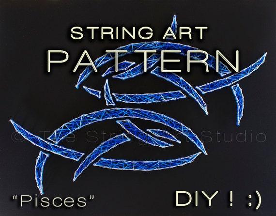 String art pattern diy pisces string art by for Fish string art
