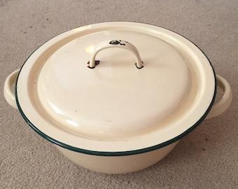 Vintage Enamel Cooking Pot, Made in France