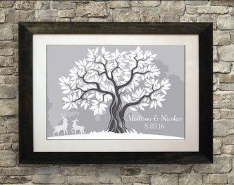 Wedding Guest Book Alternative, Wedding Guest Book Ideas, Guest Book Tree, Guest Book Deer, Guestbook, 16 x 20 inches (40 to 125 guests)
