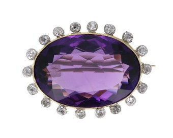 Victorian Amethyst and Diamond Brooch