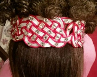 Red and white irish dance Headband