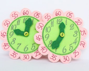 Flower Clock - Busy Bag - Learn to Tell Time -Kindergarten Learning Activity - Reading a Clock -