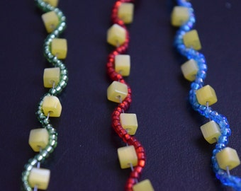 Yellow Cube Wavy Bracelet