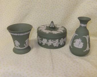 Three Pieces of Vintage Wedgwood Green Jasperware