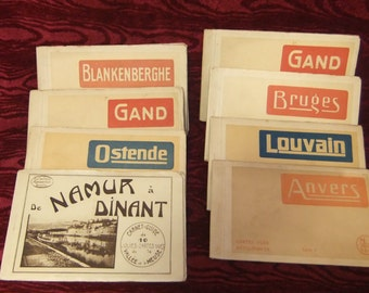 Set of Eight Vintage Cartes Vues Detachables