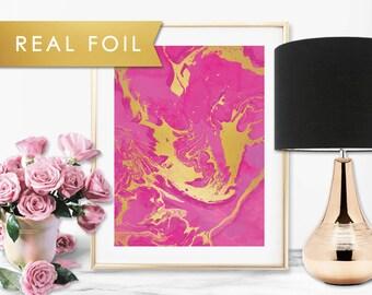 Fuchsia Marble Swirl Real Foil Art Print 11x14, 8x10, 5x7