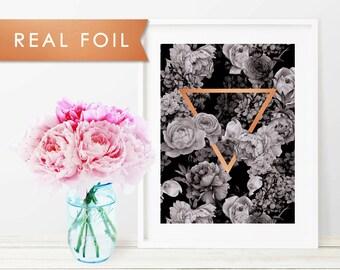 Black Floral Triangle Real Foil Art Print 11x14, 8x10, 5x7