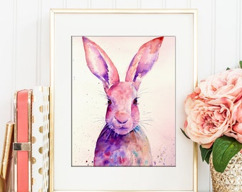 Watercolor abstract rabbit portrait, digital art print, Instant Download, printable art, nursery art print