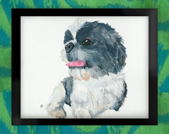 Mr. Pants the Shih Tzu Watercolor Art Print