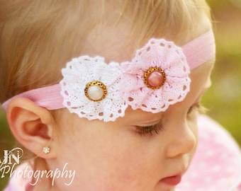 Girls Headband, Baby Headband, Girls, Baby Girl, Headbands, Bows, Flower Headband, Flower Bow, Girls Bow, Baby Bow, Pink, Pink White Flowers