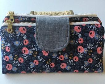 Les Fleurs Double Zip Wallet/Clutch