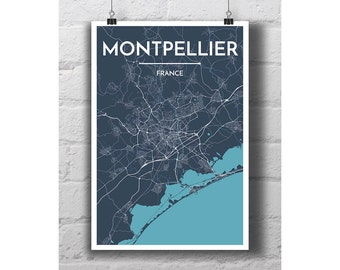 Montpellier, France - City Map Print