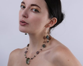 Flower Necklace   Gemstone Jewellery   India Agate Necklace    Dangle Necklace   Sterling Silver Gemstone Necklace   Floral Jewellery  A0476