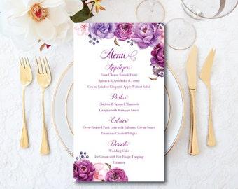 Wedding Menu Card, Purple Menu Card, Wedding Menu, Printable Floral Roses Menu, Wedding, Menu, Roses, Purple Wedding, Elegant Menu