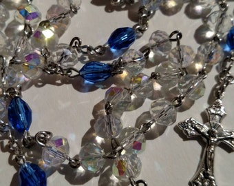 AB Clear Crystal Rosary with Blue Crystal Our Father Beads