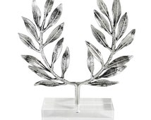 Silver Olive Wreath of Victory |/\| Kotinos, the Prize of the Winner  |\/| Hand Made Silver Plated Bronze |/\| Statue Crafted in Greece