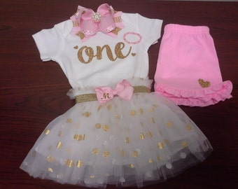 First Birthday Onesie Bodysuit Gold Glitter Sparkle