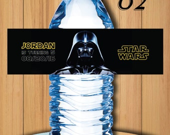 Darth Vadar Star Wars Bottle Labels, Star Wars Darth Vadar Water Label , Star Wars Birthday Party, Star Wars Birthday Labels | #2