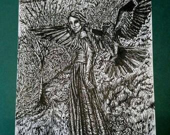Pen and Ink Illustration 'Familiar'