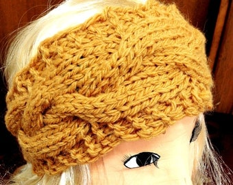 Chunky Ochre Headband knit / Ear Warmer / crochet headband / headwrap Women / Headband Women Head Wrap Winter headbands Knit earwarmer