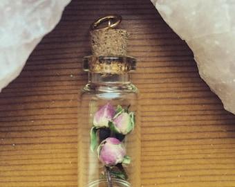 Pink Rose Bud Filled Bottle Pendant