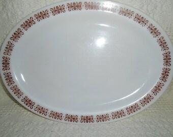 Anchor Hocking 942 Fire - King 350 Platter 12.5 X 9 Milk Glass Brown Filigree Restaurant Ware