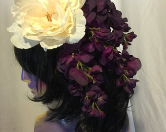 Purple and white flower fascinator