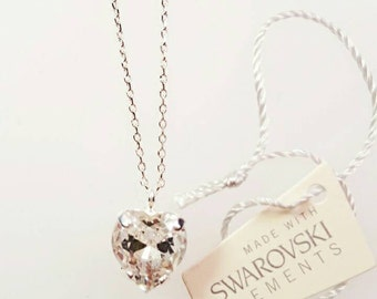 Heart shaped Swarovski pendant. Crystal heart pendant.