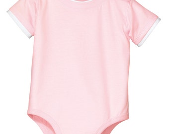 Monogrammed  Infant Short Sleeve 1-Piece Onsie with Shoulder Snaps