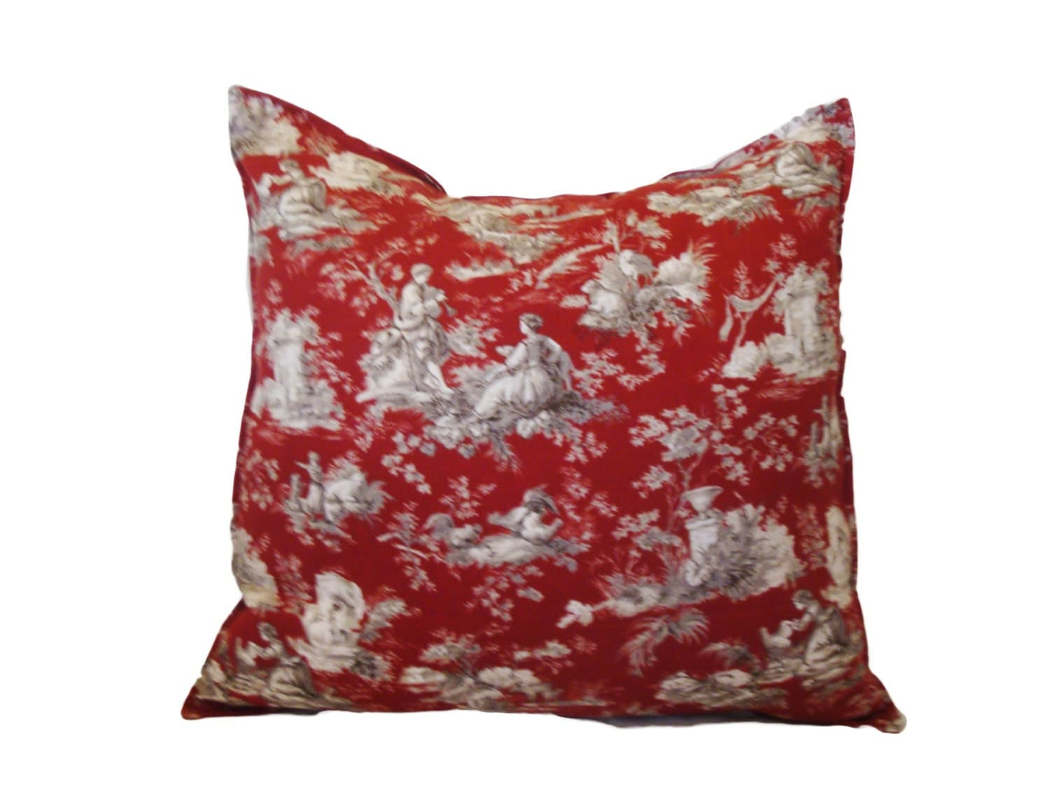 rustic pillow cover red french toile decorative by. Black Bedroom Furniture Sets. Home Design Ideas