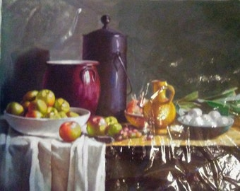 "Original Still Life Oil Painting on Unmounted Canvas, 19"" x 22.5"""