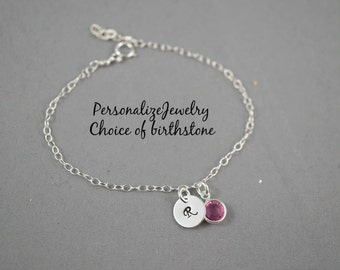 Birthstone with Initial Bracelet, Personalized Bracelet with Birthstone Charm Swarovski Crystals Sterling silver Dainty Bracelet Adjustable