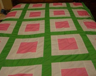 Modern Square Patchwork Quilt Top