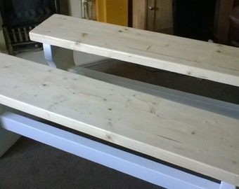2 x 4ft shabby chic style benches