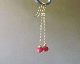 Long Gold & Ruby Drop Earrings - Large genuine pink/red ruby rondelle gold chain dangle hook wire earrings