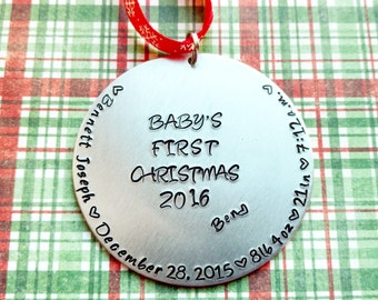 Baby's First Christmas Hand Stamped Ornament, Personalized Ornament, Birth Stats Ornament, Custom Ornament, Baby Ornament, New Baby