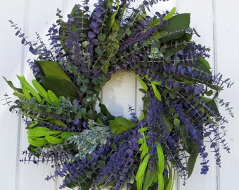 Eucalyptus Wreath, Spring Eucalyptus Wreath, Purple Eucalyptus Wreath, Green and Purple Eucalyptus Wreath, Dried Eucalyptus Wreath, Wreath