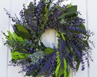 Eucalyptus Wreath, Spring Eucalyptus Wreath, Purple Eucalyptus Wreath, Green and Purple Eucalyptus Wreath, Dried Eucalyptus Wreath, Wreath