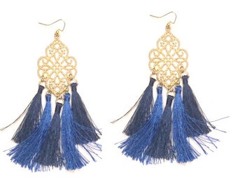 Fabric Fringe Statement Earring