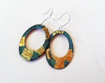 dangle earrings,copper and faux gold leaf