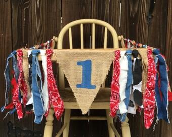 High Chair Banner, 1st Birthday, Cowboy Banner, Cowgirl Banner, Denim, Paisley, Western Birthday, Burlap Banner, Round Up, Rodeo, Country