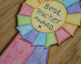 Best Teacher Award. Wooden Rosette, Teacher Gift, Colourful rosette, Rainbow, Bright, Present for your teachers, handmade