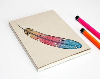 Geometric Tribal Feather Notepad, Notebook,Stationary