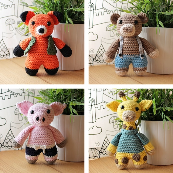 Animals: Fox, Bear, Piggy & Giraffe. Amigurumi Pattern PDF.