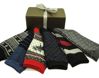 Womens Sock Gift Pack B - 6 Pairs Cotton & Bamboo Socks, Gift socks with box and ribbon, ready to gift