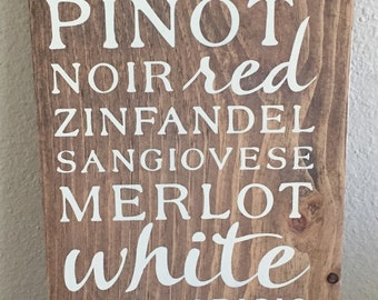 Wood WINE sign